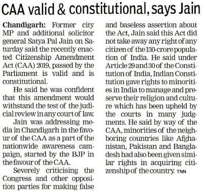 CAA valid & constitutional, says Jain