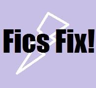 'Fics Fix!' purple background with white lightning bolt shape