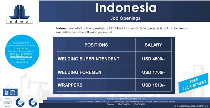 Urgently Required for Indman, on behalf of their prestigious EPC Client for their Oil & Gas projects Jobs