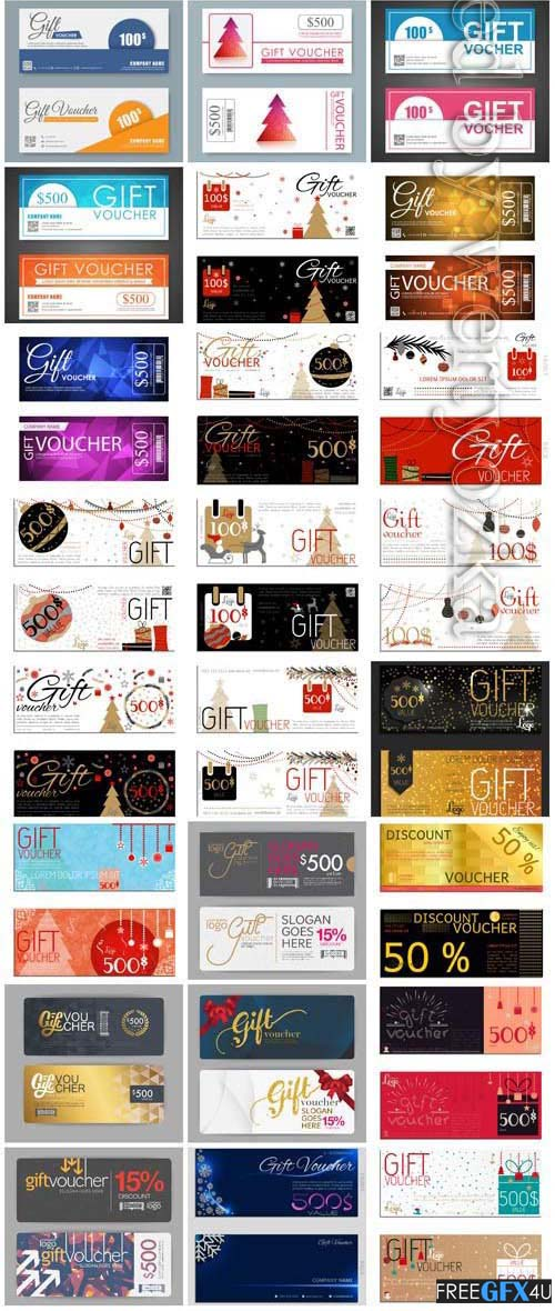 Vector Vouchers Cards Collection