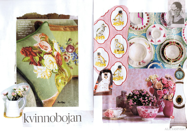 aliciasivert alicia sivertsson collage sköna hem drömhem och trädgård dagens nyheter scrapbook scrap book porslin porcelain cup kopp te kaffe koppar cups coffee tea flowers blommor broderi cross stitch