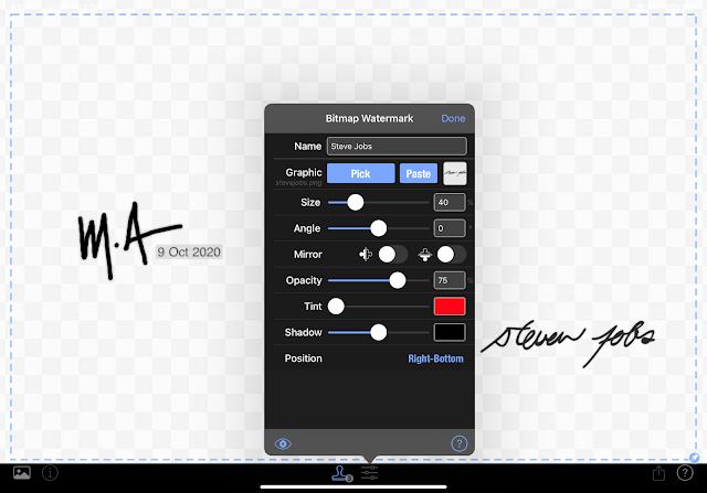 iWatermark app on iPad
