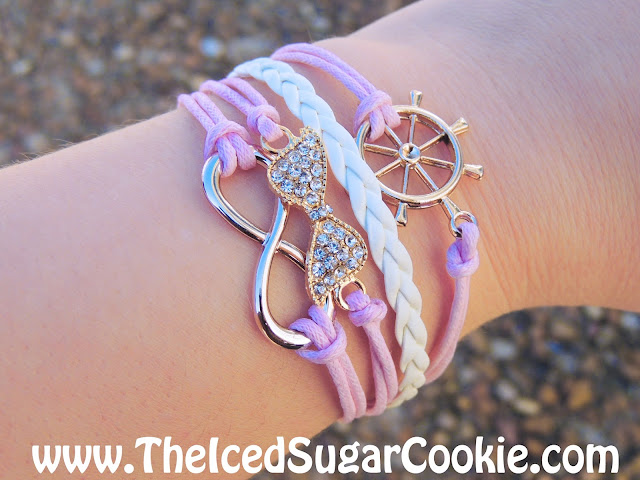 Pink and White Bracelet With Ship Wheel Rhinestone Bow Infinity Sign Leather- Unique, Cute, Trendy Jewelry For Girls