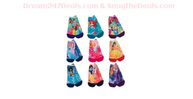 9 Pairs Disney Princess Socks – Youth Girls Quarter Length
