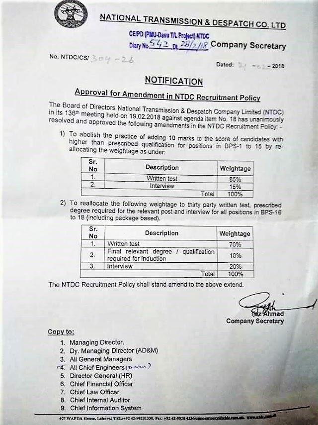 NOTIFICATION REGARDING AMENDMENT IN NTDC RECRUITMENT POLICY