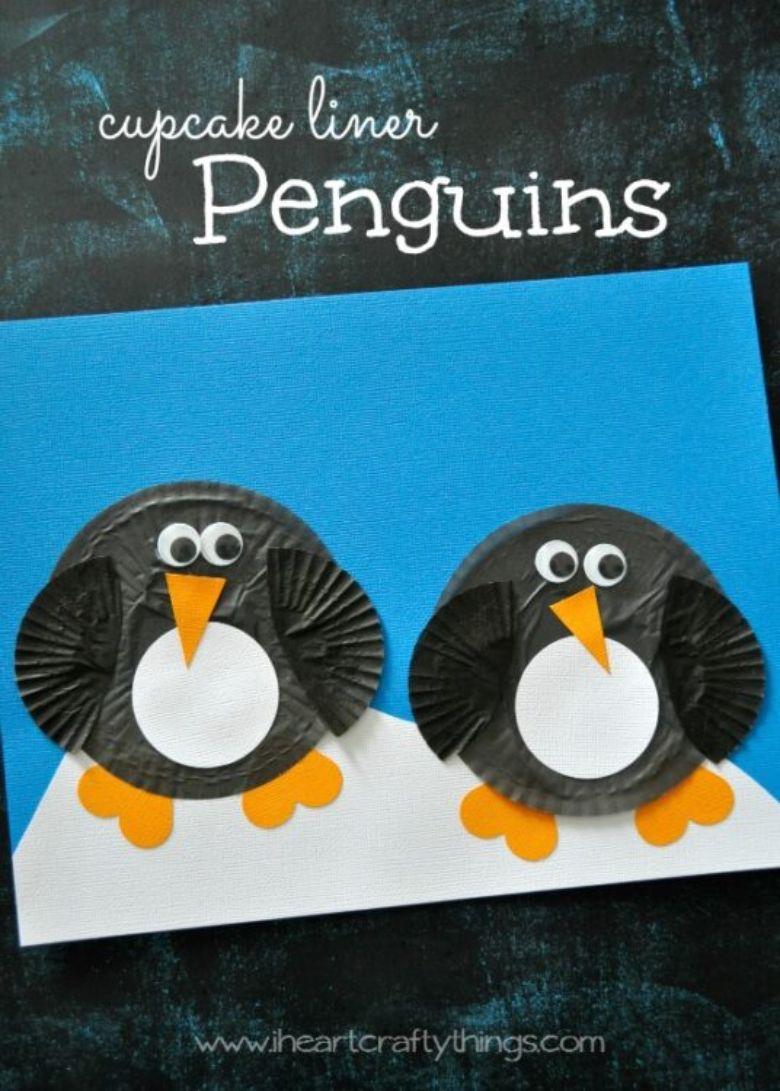 cupcake liner penguin craft