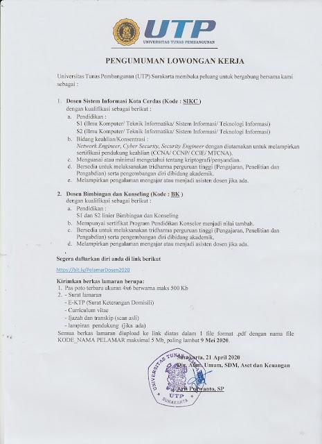 Lowongan Dosen Universitas Tunas Pembangunan Surakarta