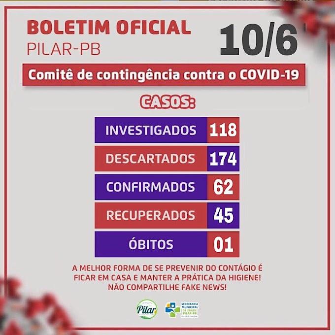 BOLETIM CORONA-VÍRUS (Pilar): Fique informado sobre atualizações em sua cidade. (10/06/2020).