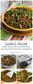 Lentil Salad with Green Olives, Red Bell Pepper, Green Onion, and Herbs [from KalynsKitchen.com]