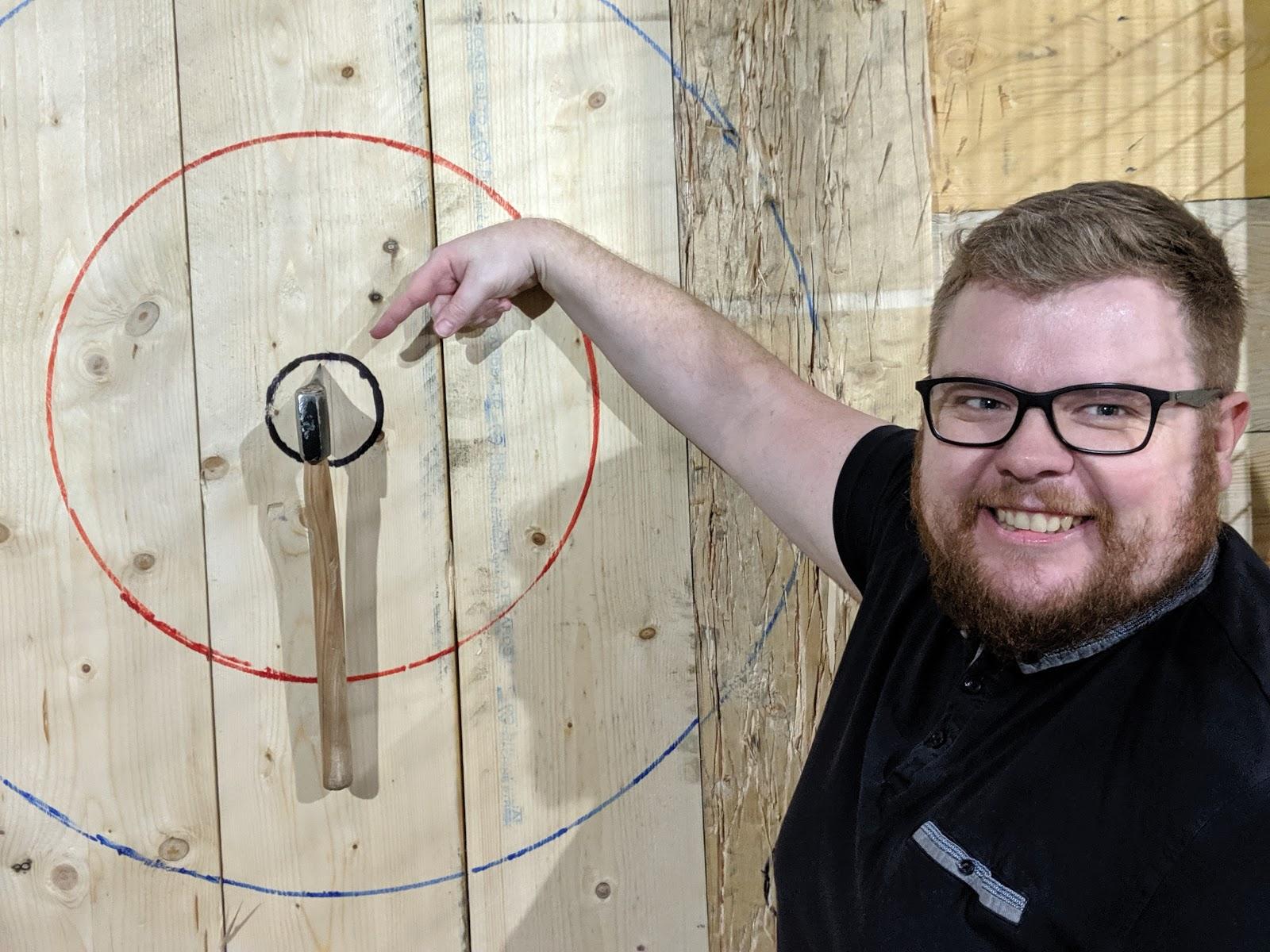 Indoor Axe Throwing in Newcastle at Hatchet Harry's  (Review) - bullseye