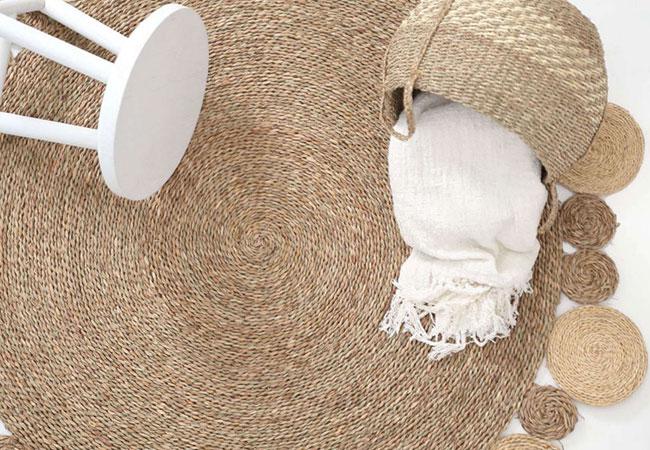 Καλοκαιρινό Ψάθινο Χαλί: Kami Natural-White Royal Carpet