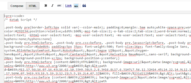 Cara Membuat dan Memasang Syntax Highlighter di Blogger