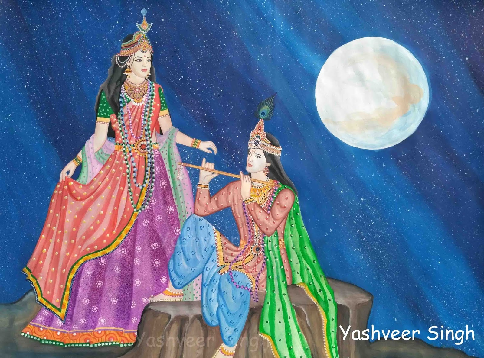 Radha And Krishna By Yashveer Singh