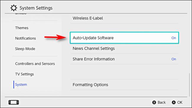 حدد برنامج التحديث التلقائي في إعدادات Nintendo Switch