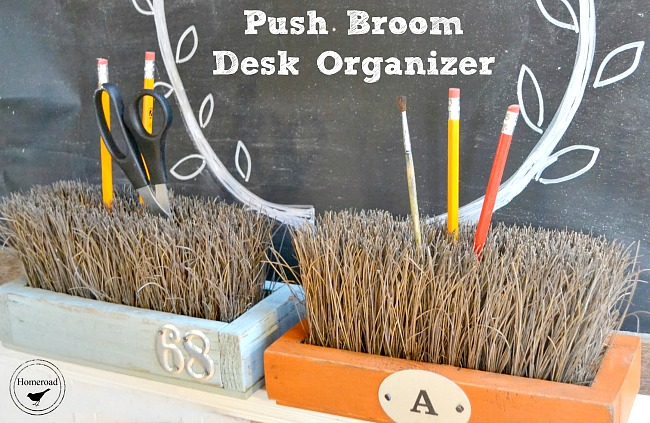 Push broom pencil holder and office organizer