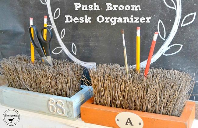 Push broom pencil holder and office organizer