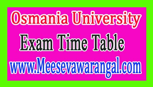 Osmania University BE 1st Sem Dec 2016 Exam Time Table