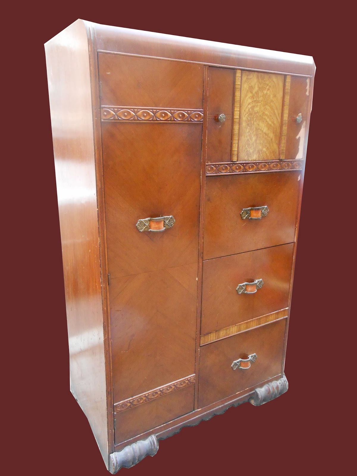 Skyscraper Art Deco Wardrobe With Burled Walnut Veneers Circa 1920 1930 Walnut Veneer
