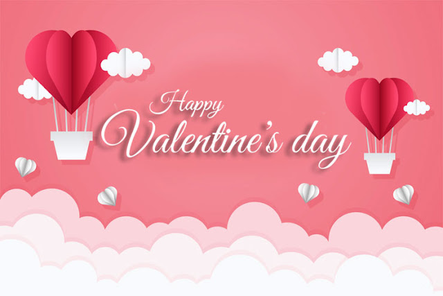 Valentine's Day parachute heart love and cloud 3D image