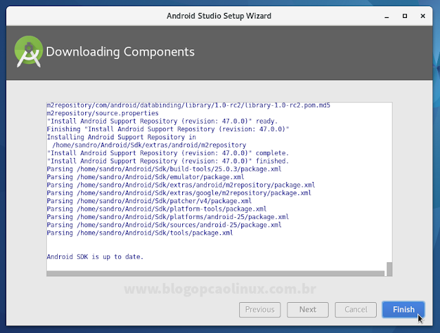 Download dos componentes do Android Studio completo