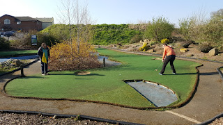 A long second putt on the not so miniature Mini Golf course at Clays Golf Centre
