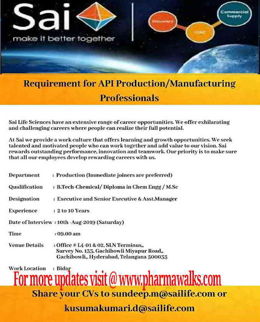 Sai Life Sciences - Walk-in interview for Production /Manufacturing on 10th August, 2019