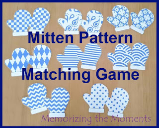 Printable Mitten Pattern Matching Game for Visual Discrimination