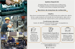 📂 Empleos en Cali Hoy como Mecanico de Maquinas de Confeccion 💼 |▷ #Cali #SiHayEmpleo #Empleo