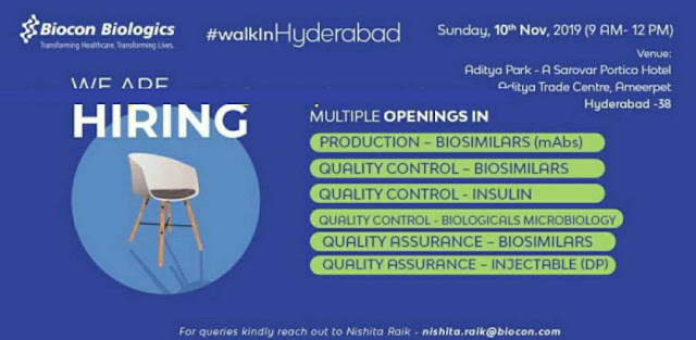 Biocon - Walk-in interview for multiple positions on 10th November, 2019