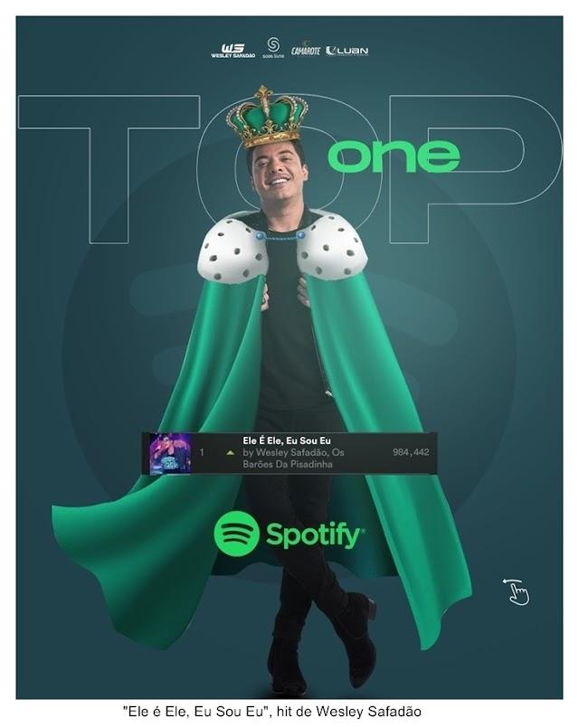 """""""Ele é Ele, Eu Sou Eu"""", hit de Wesley Safadão, alcança o primeiro lugar das músicas mais ouvidas do Spotify"""