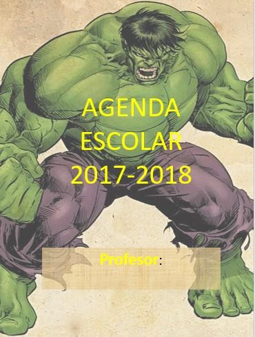 Agenda escolar Hulk 2017-2018  editable