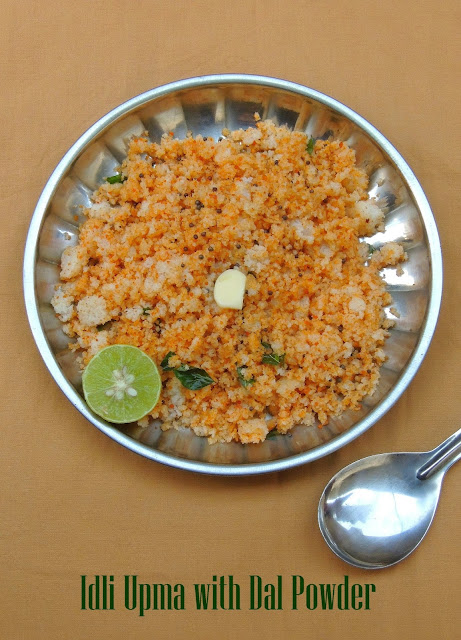 Idli upma with Paruppu podi