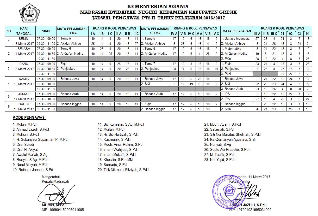Jadwal UTS Genap Tahun Pelajaran 2016/2017