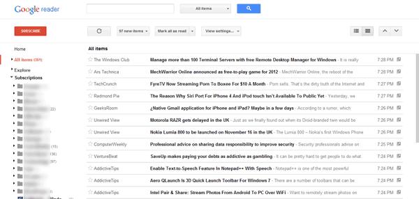 New Google Reader Layout