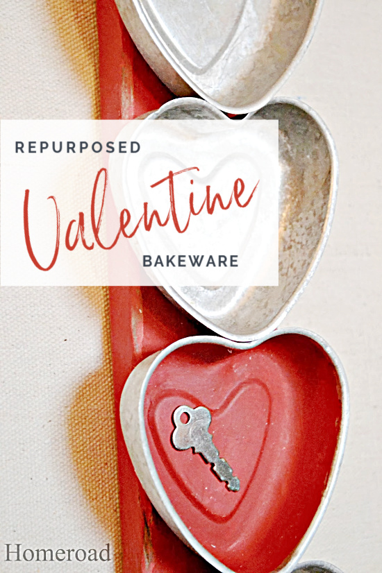 repurposed bakeware with hearts and a key and overlay