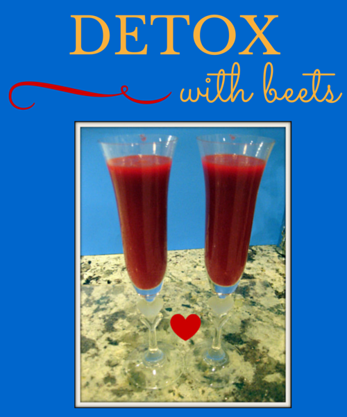 champagne glasses filled with beet juice