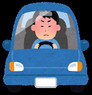 運転している男性のイラスト(怒る)