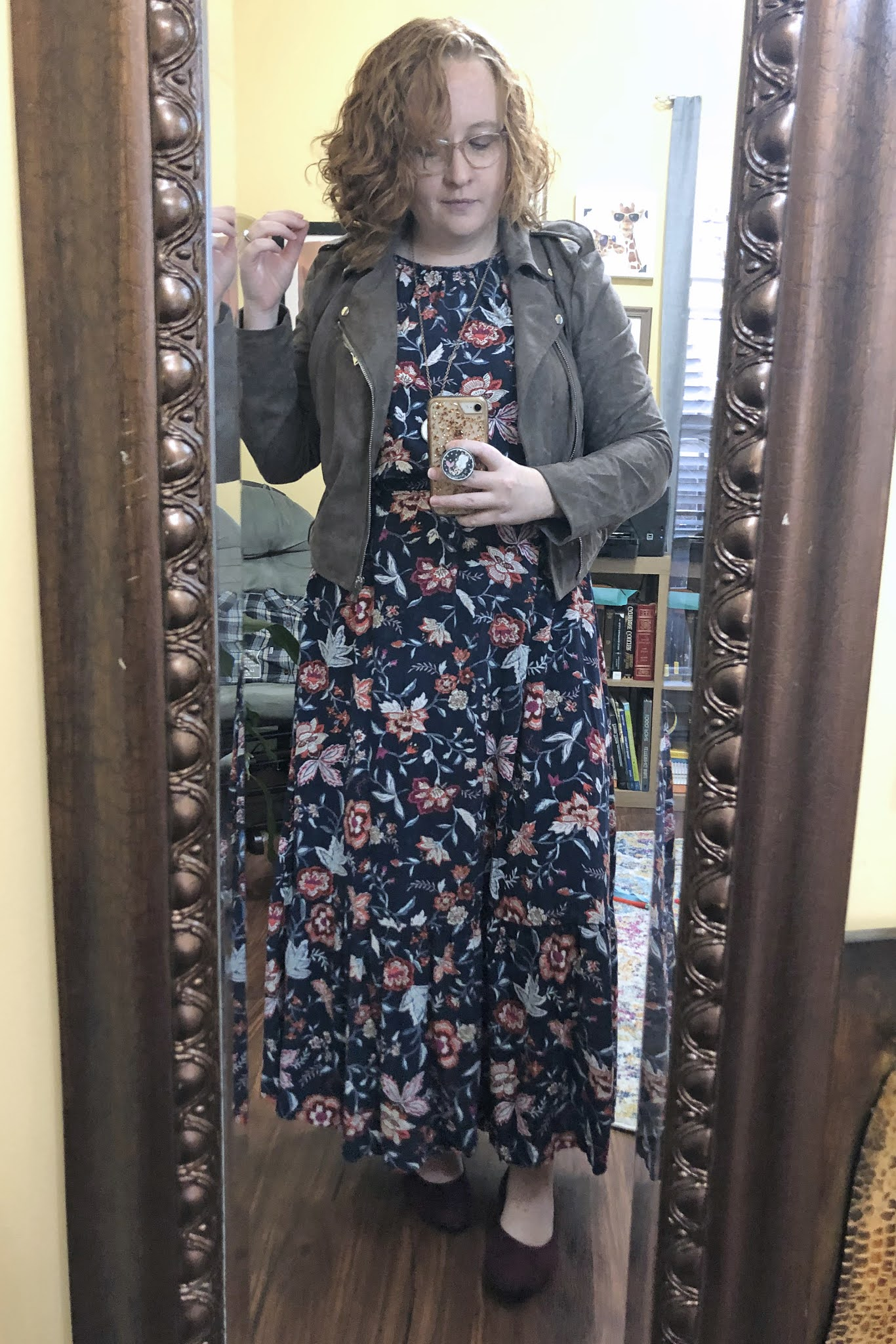 maxi dress and moto jacket
