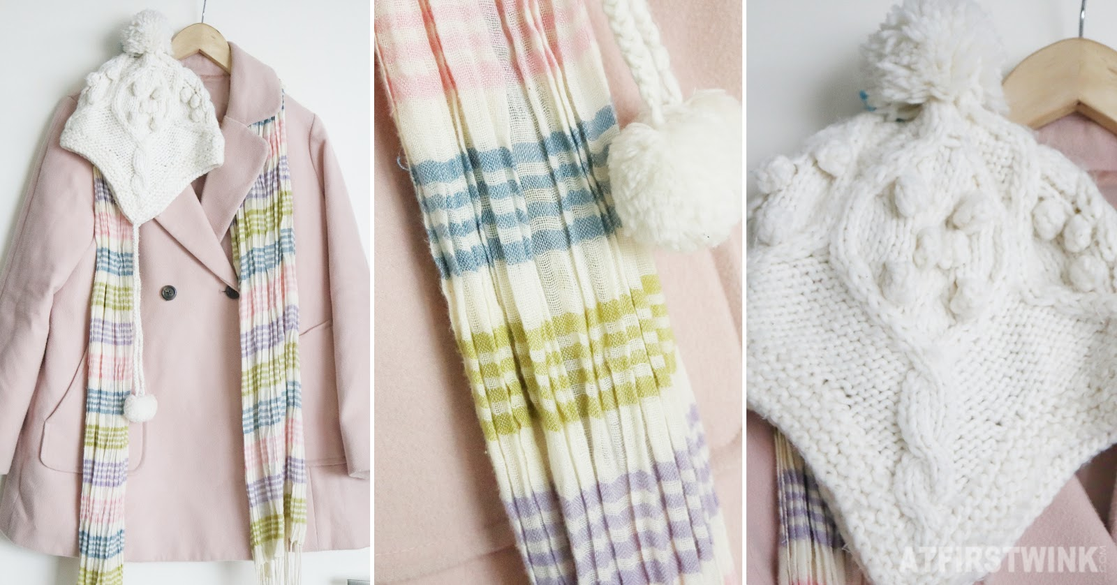 Earth music ecology pink coat accessorize white knit hat river island pastel stripe scarf