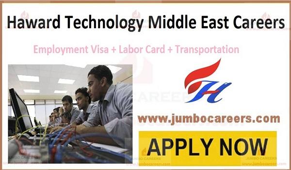 Free Visa jobs in Middle East, haward technology ajman careers