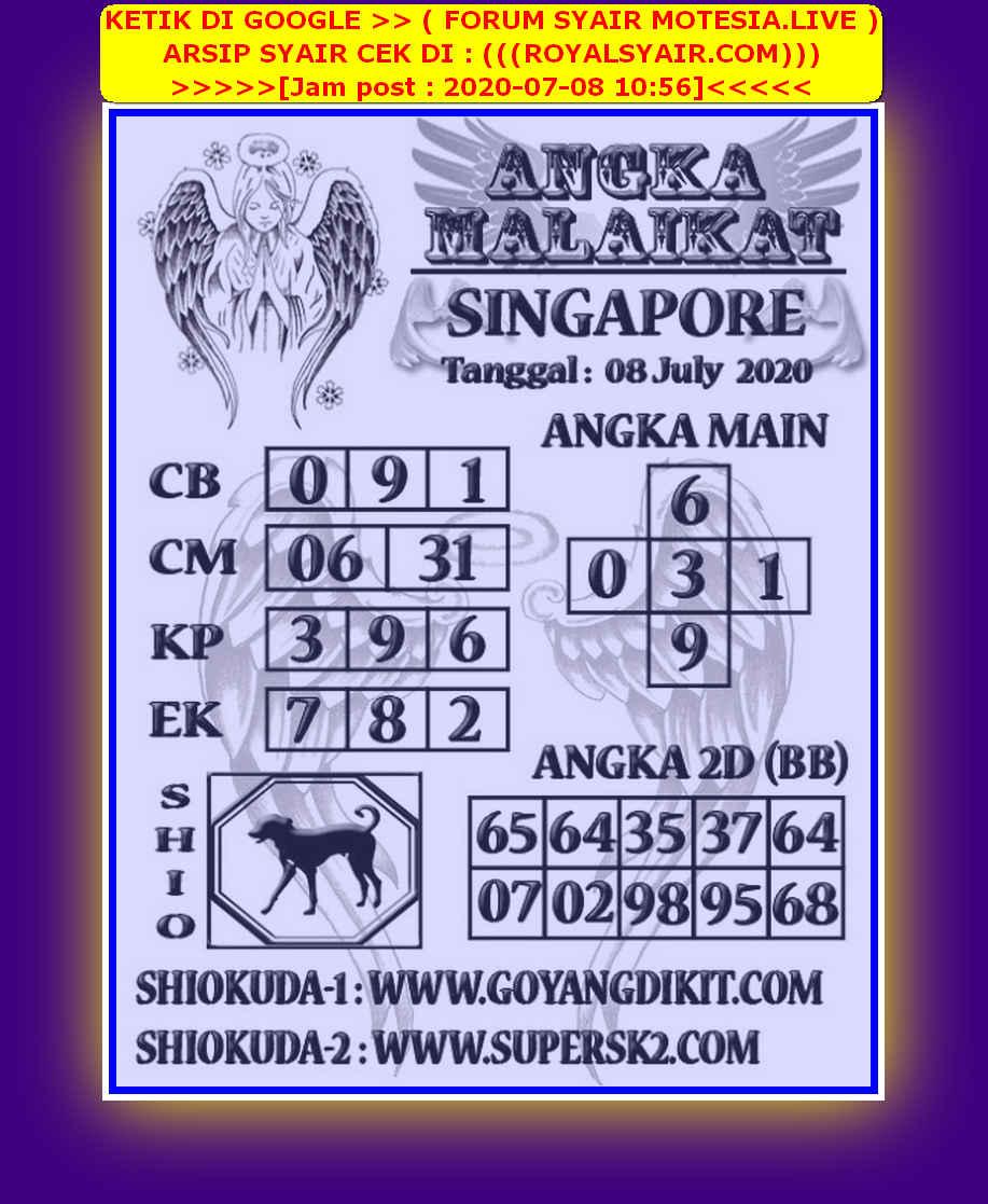 Kode syair Singapore Rabu 8 Juli 2020 167