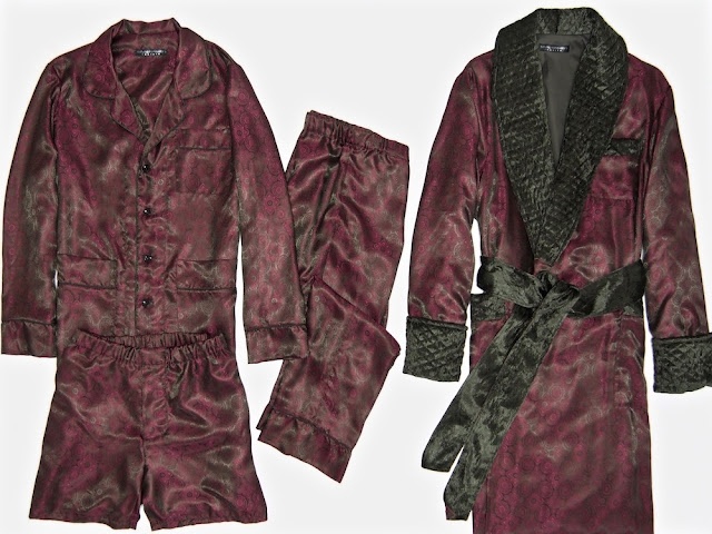 Mens red silk pajamas with robe quilted dressing gown burgundy paisley jacquard