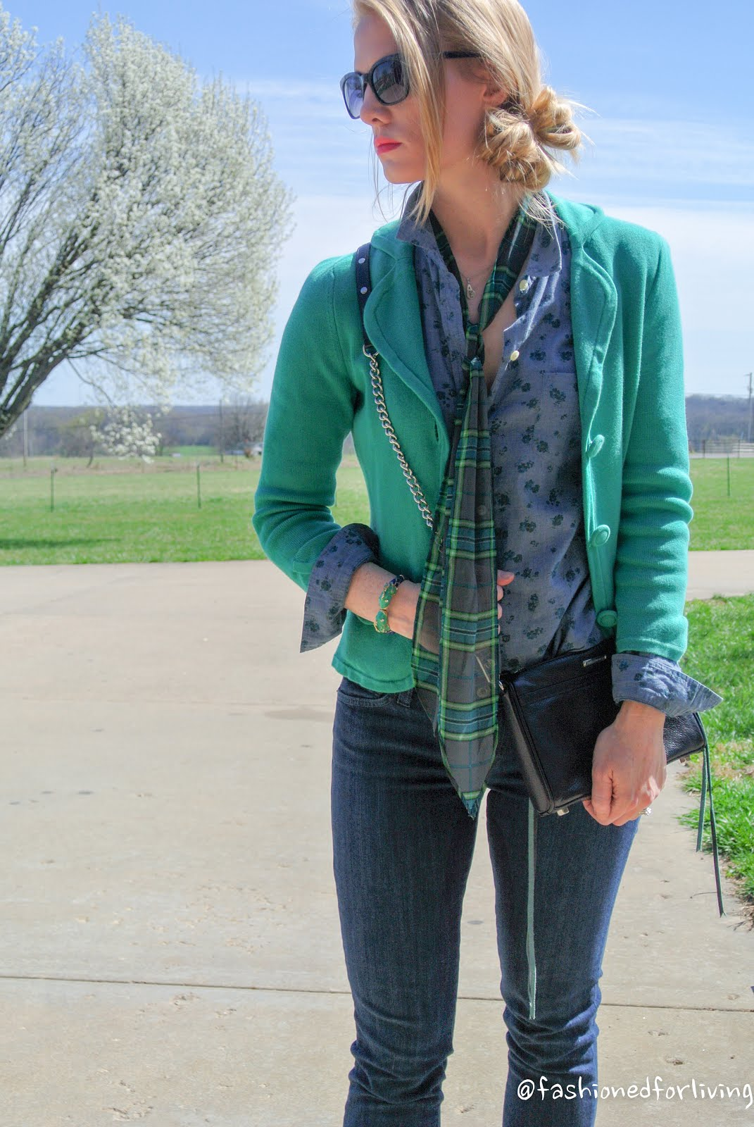 Fashioned For Living Casual Spring Outfit Green Sweater
