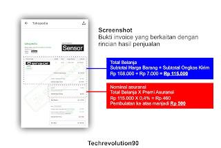 Screenshot Invoice Penjualan Tokopedia