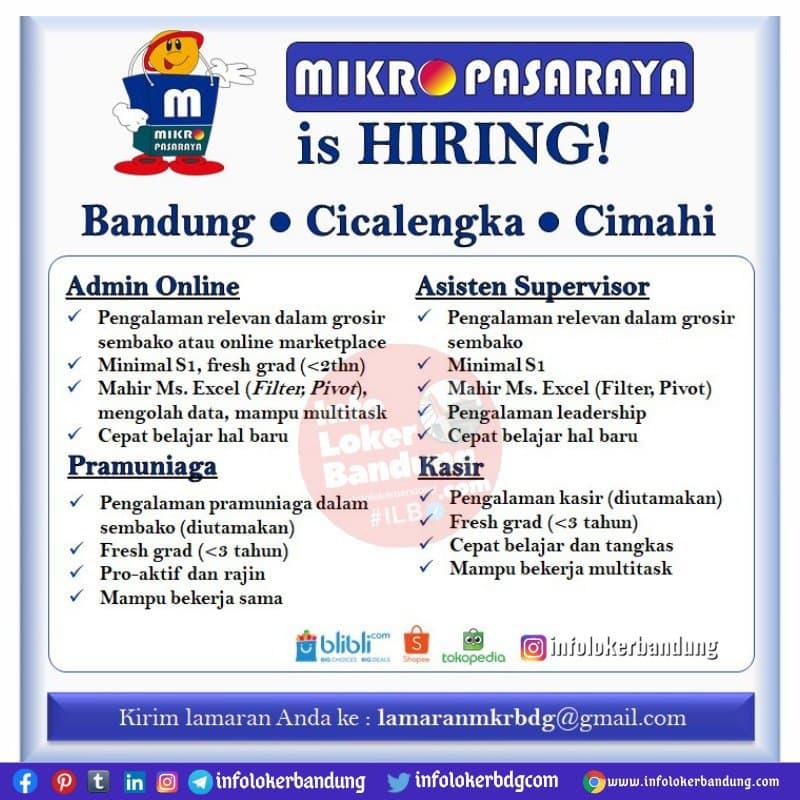 Lowongan Kerja Mikro Pasaraya Bandung Mei 2021