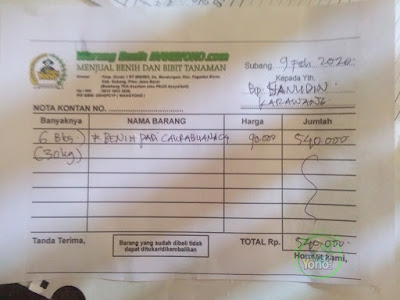 Nota pembelian benih padi  Pak Sanudin di warung benih  MANGYONOcom