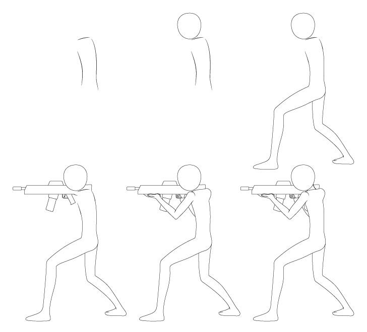 Anime bertujuan menggambar pose selangkah demi selangkah