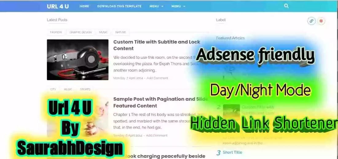 Url 4 U - premium url shortener template for blogger by SaurabhDesign.