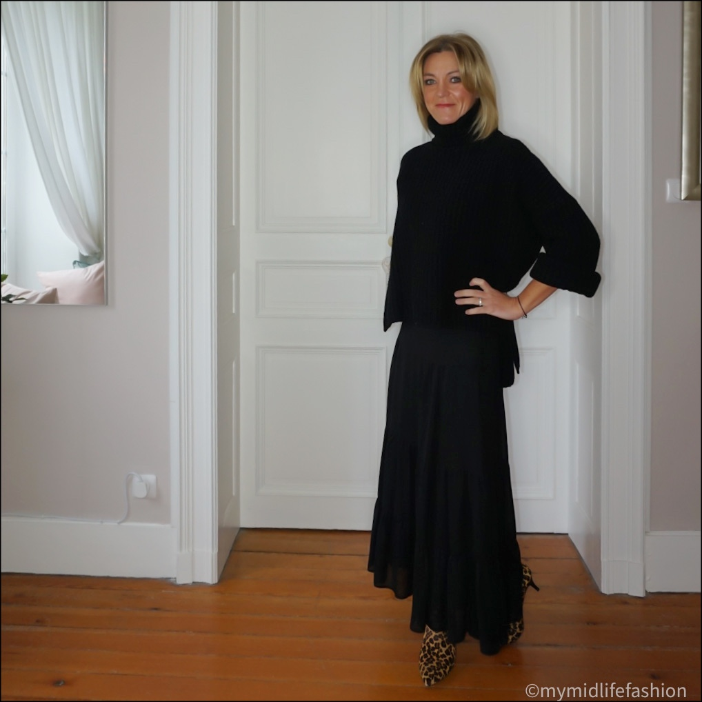 my midlife fashion, Joseph oversized polo neck jumper, marks and  Spencer tiered maxi skirt, hush leopard print kitten heel ankle boots