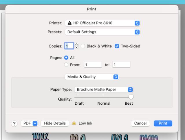print and cut, home printer, sticker paper, printable material, printer settings
